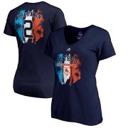 Wholesale Cheap Houston Astros #2 Alex Bregman Majestic Women's 2019 Spring Training Name & Number V-Neck T-Shirt Navy