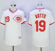 Wholesale Reds #19 Joey Votto White Flexbase Authentic Collection Cooperstown Stitched Baseball Jersey
