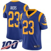 Wholesale Cheap Nike Rams #23 Cam Akers Royal Blue Alternate Men's Stitched NFL 100th Season Vapor Untouchable Limited Jersey
