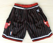 Wholesale Cheap Chicago Bulls Black With Red Pinstripe Short