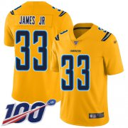 Wholesale Cheap Nike Chargers #33 Derwin James Jr Gold Men's Stitched NFL Limited Inverted Legend 100th Season Jersey