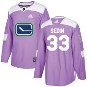 Wholesale Cheap Adidas Canucks #33 Henrik Sedin Purple Authentic Fights Cancer Youth Stitched NHL Jersey
