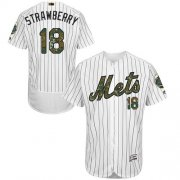 Wholesale Cheap Mets #18 Darryl Strawberry White(Blue Strip) Flexbase Authentic Collection Memorial Day Stitched MLB Jersey
