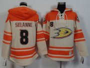 Wholesale Cheap Ducks #8 Teemu Selanne Cream/Orange Sawyer Hooded Sweatshirt Stitched NHL Jersey
