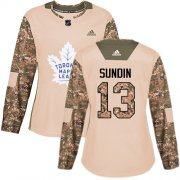 Wholesale Cheap Adidas Maple Leafs #13 Mats Sundin Camo Authentic 2017 Veterans Day Women's Stitched NHL Jersey