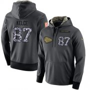 Wholesale Cheap NFL Men's Nike Kansas City Chiefs #87 Travis Kelce Stitched Black Anthracite Salute to Service Player Performance Hoodie