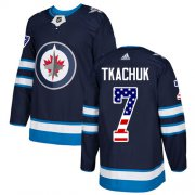 Wholesale Cheap Adidas Jets #7 Keith Tkachuk Navy Blue Home Authentic USA Flag Stitched NHL Jersey