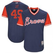 "Wholesale Cheap Braves #49 Julio Teheran Navy ""JT"" Players Weekend Authentic Stitched MLB Jersey"