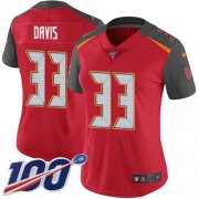 Wholesale Cheap Nike Buccaneers #33 Carlton Davis III Red Team Color Women's Stitched NFL 100th Season Vapor Limited Jersey