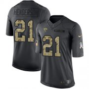 Wholesale Cheap Nike Jaguars #21 C.J. Henderson Black Youth Stitched NFL Limited 2016 Salute to Service Jersey