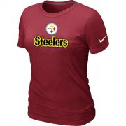 Wholesale Cheap Women's Nike Pittsburgh Steelers Authentic Logo T-Shirt Red