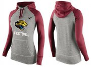 Wholesale Cheap Women's Nike Jacksonville Jaguars Performance Hoodie Grey & Red