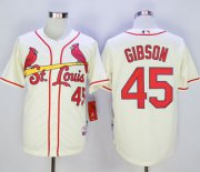Wholesale Cheap Cardinals #45 Bob Gibson Cream Cool Base Stitched MLB Jersey