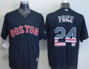 Wholesale Cheap Red Sox #24 David Price Navy Blue USA Flag Fashion Stitched MLB Jersey