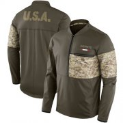 Wholesale Cheap Men's New England Patriots Nike Olive Salute to Service Sideline Hybrid Half-Zip Pullover Jacket