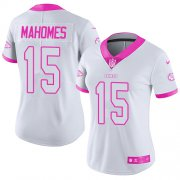 Wholesale Cheap Nike Chiefs #15 Patrick Mahomes White/Pink Women's Stitched NFL Limited Rush Fashion Jersey