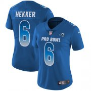 Wholesale Cheap Nike Rams #6 Johnny Hekker Royal Women's Stitched NFL Limited NFC 2018 Pro Bowl Jersey