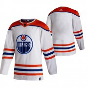 Wholesale Cheap Edmonton Oilers Blank White Men's Adidas 2020-21 Reverse Retro Alternate NHL Jersey