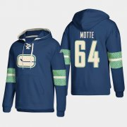 Wholesale Cheap Vancouver Canucks #64 Tyler Motte Blue adidas Lace-Up Pullover Hoodie