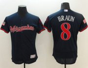 Wholesale Cheap Brewers #8 Ryan Braun Navy Blue Fashion Stars & Stripes Flexbase Authentic Stitched MLB Jersey