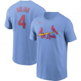 Wholesale Cheap St. Louis Cardinals #4 Yadier Molina Nike Name & Number T-Shirt Light Blue