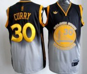 Wholesale Cheap Golden State Warriors #30 Stephen Curry Black/Gray Fadeaway Fashion Jersey