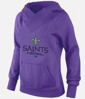 Wholesale Cheap Women\'s New Orleans Saints Big & Tall Critical Victory Pullover Hoodie Purple