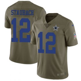 Wholesale Cheap Nike Cowboys #12 Roger Staubach Olive Men\'s Stitched NFL Limited 2017 Salute To Service Jersey