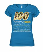 Wholesale Cheap Green Bay Packers 100 Seasons Memories Women's T-Shirt Sky Blue