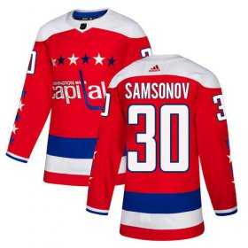 Wholesale Cheap Adidas Capitals #30 Ilya Samsonov Red Alternate Authentic Stitched Youth NHL Jersey