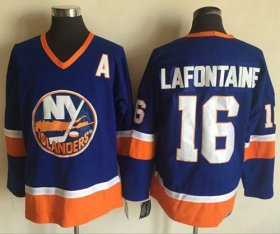 Wholesale Cheap Islanders #16 Pat LaFontaine Baby Blue CCM Throwback Stitched NHL Jersey