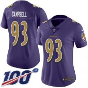 Wholesale Cheap Nike Ravens #93 Calais Campbell Purple Women's Stitched NFL Limited Rush 100th Season Jersey