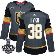 Wholesale Cheap Adidas Golden Knights #38 Tomas Hyka Grey Home Authentic 2018 Stanley Cup Final Women's Stitched NHL Jersey