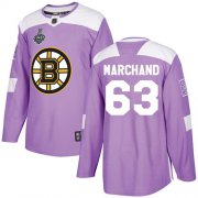 Wholesale Cheap Adidas Bruins #63 Brad Marchand Purple Authentic Fights Cancer Stanley Cup Final Bound Youth Stitched NHL Jersey