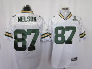 Wholesale Cheap Packers #87 Jordy Nelson White Super Bowl XLV Stitched NFL Jersey