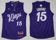 Wholesale Cheap Men's Sacramento Kings #15 DeMarcus Cousins adidas Purple 2016 Christmas Day Stitched NBA Swingman Jersey