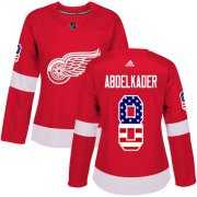Wholesale Cheap Adidas Red Wings #8 Justin Abdelkader Red Home Authentic USA Flag Women's Stitched NHL Jersey