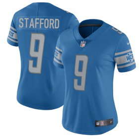 Wholesale Cheap Nike Lions #9 Matthew Stafford Light Blue Team Color Women\'s Stitched NFL Vapor Untouchable Limited Jersey