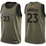 Wholesale Cheap Raptors #23 Fred VanVleet Green Salute to Service 2019 Finals Bound Basketball Swingman Jersey