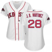 Wholesale Cheap Red Sox #28 J. D. Martinez White Home 2018 World Series Champions Women's Stitched MLB Jersey