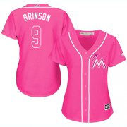 Wholesale Cheap Marlins #9 Lewis Brinson Pink Fashion Women's Stitched MLB Jersey