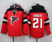 Wholesale Cheap Nike Falcons #21 Deion Sanders Red Player Pullover NFL Hoodie