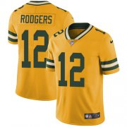 Wholesale Cheap Nike Packers #12 Aaron Rodgers Yellow Youth Stitched NFL Limited Rush Jersey