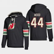 Wholesale Cheap New Jersey Devils #44 Miles Wood Black adidas Lace-Up Pullover Hoodie
