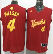 Wholesale Cheap Men's Atlanta Hawks #4 Paul Millsap adidas Red 2016 Christmas Day Stitched NBA Swingman Jersey