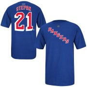 Wholesale Cheap New York Rangers #21 Derek Stepan Reebok Name and Number Player T-Shirt Royal
