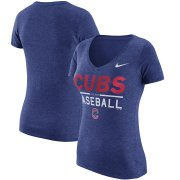 Wholesale Cheap Chicago Cubs Nike Women's Practice 1.7 Tri-Blend V-Neck T-Shirt Heathered Royal