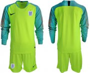 Wholesale Cheap England Blank Shiny Green Goalkeeper Long Sleeves Soccer Country Jersey