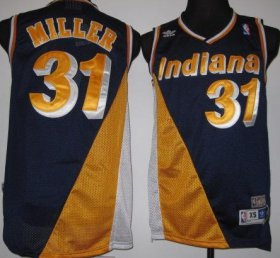 Wholesale Cheap Indiana Pacers #31 Reggie Miller Navy Blue/Yellow Swingman Throwback Jersey