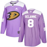 Wholesale Cheap Adidas Ducks #8 Teemu Selanne Purple Authentic Fights Cancer Stitched NHL Jersey